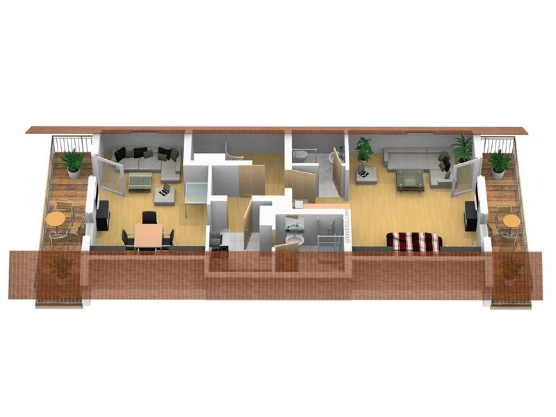 3D Grundriss der Ferienwohnung Panoramablick