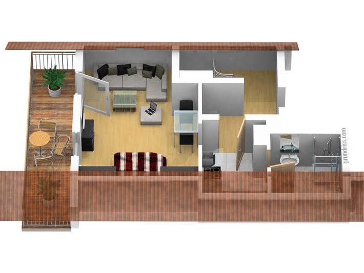 3D Grundriss der Ferienwohnung Waldidyll