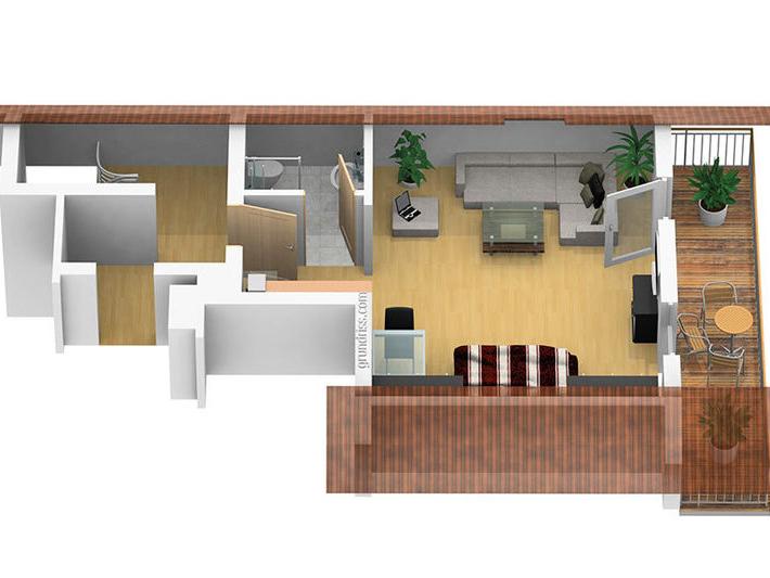 3D Grundriss der Ferienwohnung Kaiserblick